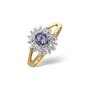 Photo of Tanzanite & 0.12CT Diamond Ring 9K Yellow Gold Jewellery Woman