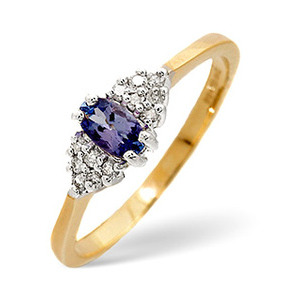 Photo of Tanzanite & 0.09CT Diamond Ring 9K Yellow Gold Jewellery Woman