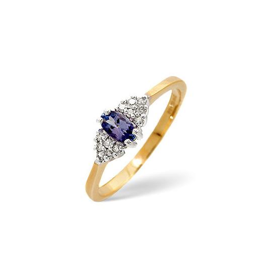 Tanzanite & 0.09CT Diamond Ring 9K Yellow Gold