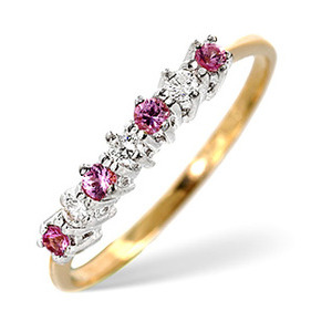 Photo of Pink Sapphire & 0.09CT Diamond Ring 9K Yellow Gold Jewellery Woman