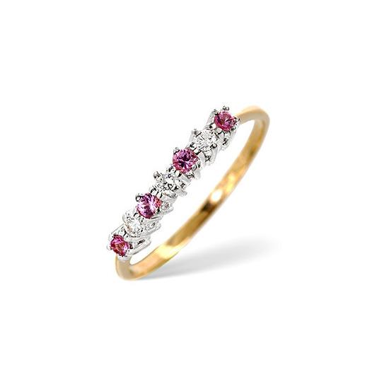 Pink Sapphire & 0.09CT Diamond Ring 9K Yellow Gold
