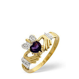 Amethyst & 0.02CT Diamond Ring 9K Yellow Gold Reviews
