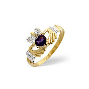 Photo of Amethyst & 0.02CT Diamond Ring 9K Yellow Gold Jewellery Woman