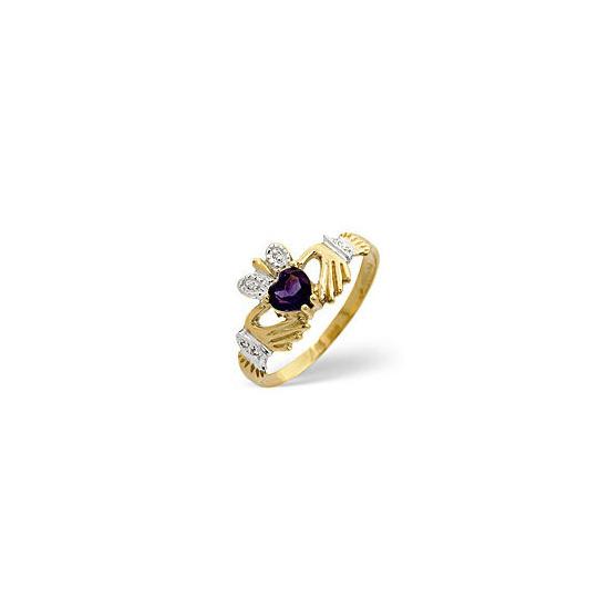 Amethyst & 0.02CT Diamond Ring 9K Yellow Gold