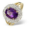 Photo of Amethyst & 0.10CT Diamond Ring 9K Yellow Gold Jewellery Woman