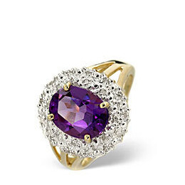 Amethyst & 0.10CT Diamond Ring 9K Yellow Gold Reviews