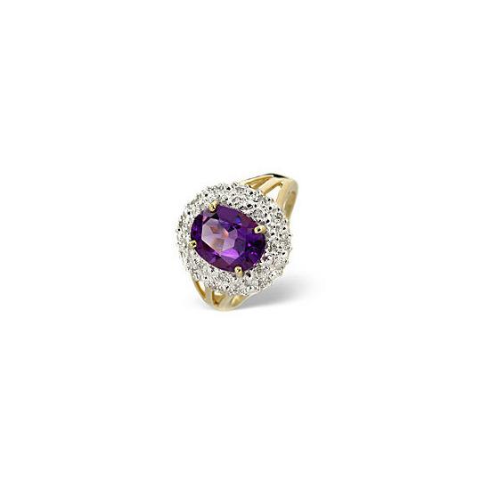 Amethyst & 0.10CT Diamond Ring 9K Yellow Gold