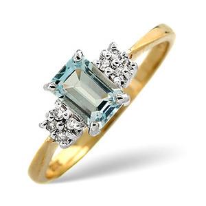 Photo of Blue Topaz & 0.06CT Diamond Ring 9K Yellow Gold Jewellery Woman
