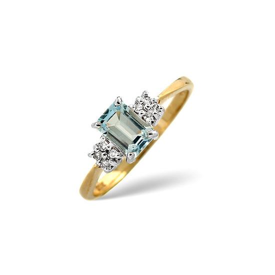Blue Topaz & 0.06CT Diamond Ring 9K Yellow Gold