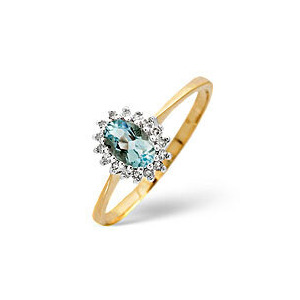 Photo of Aqua Marine & 0.08CT Diamond Ring 9K Yellow Gold Jewellery Woman