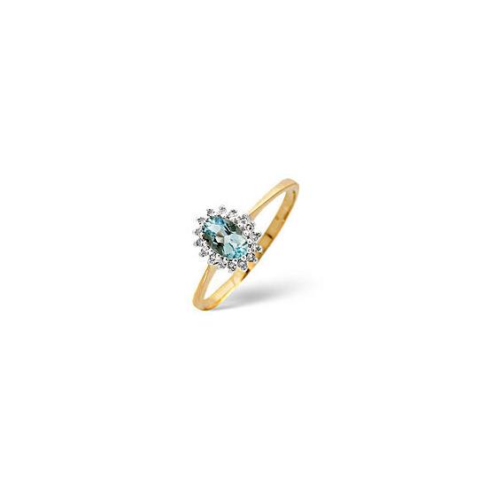 Aqua Marine & 0.08CT Diamond Ring 9K Yellow Gold