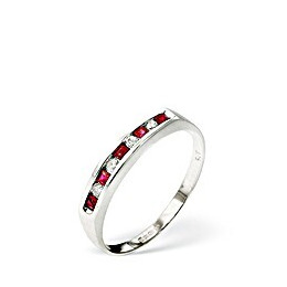 Ruby & 0.09CT Diamond Ring 9K White Gold Reviews