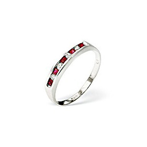 Photo of Ruby & 0.09CT Diamond Ring 9K White Gold Jewellery Woman