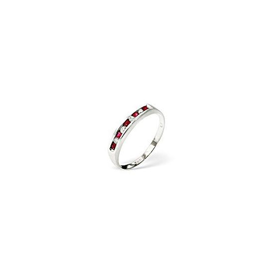 Ruby & 0.09CT Diamond Ring 9K White Gold