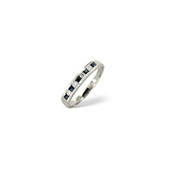 Sapphire & 0.09CT Diamond Ring 9K White Gold