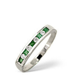 Emerald & 0.09CT Diamond Ring 9K White Gold Reviews