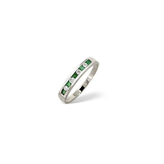 Emerald & 0.09CT Diamond Ring 9K White Gold