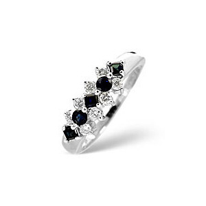 Photo of Sapphire & 0.25CT Diamond Ring 9K White Gold Jewellery Men