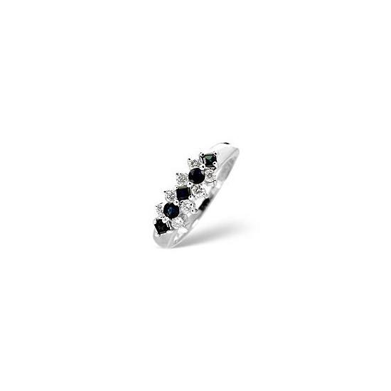 Sapphire & 0.25CT Diamond Ring 9K White Gold