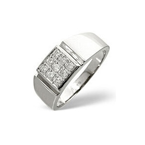 Photo of Mens Ring 0.33CT Diamond 9K White Gold Jewellery Men