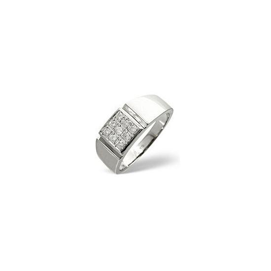 Mens Ring 0.33CT Diamond 9K White Gold
