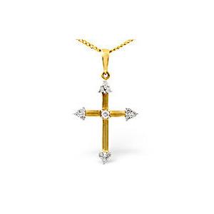 Photo of The Diamond Store Cross Pendant 0 12CT Diamond 9K Yellow Gold Jewellery Woman