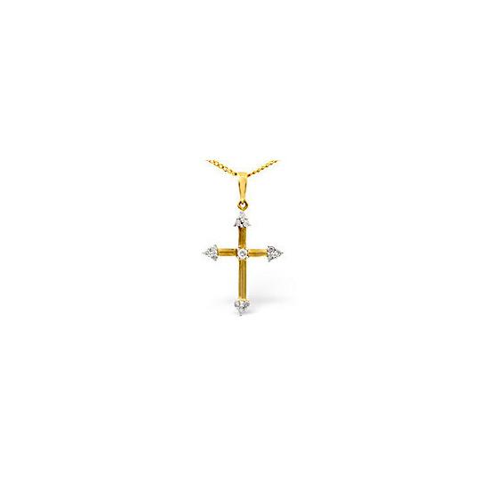 The Diamond Store Cross Pendant 0 12CT Diamond 9K Yellow Gold