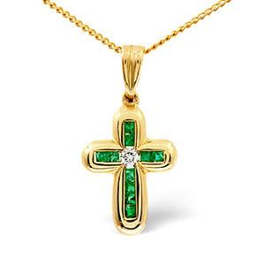Photo of Emerald & 0.05CT Diamond Pendant 9K Yellow Gold Jewellery Woman