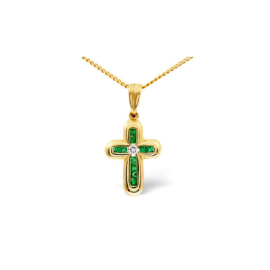 Emerald & 0.05CT Diamond Pendant 9K Yellow Gold