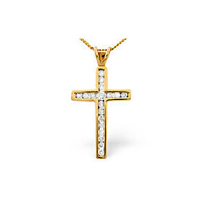 Photo of Cross Pendant 0.50CT Diamond 9K Yellow Gold Jewellery Woman