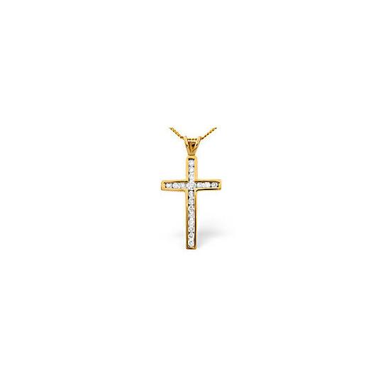 Cross Pendant 0.50CT Diamond 9K Yellow Gold