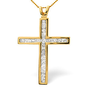 Photo of Cross Pendant 1.00CT Diamond 9K Yellow Gold Jewellery Woman