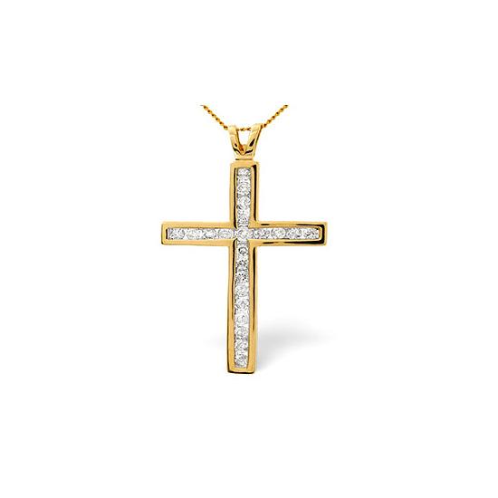 Cross Pendant 1.00CT Diamond 9K Yellow Gold