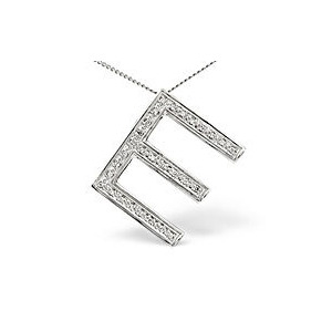 Photo of Initial Pendant 0.15CT Diamond 9K White Gold Jewellery Woman