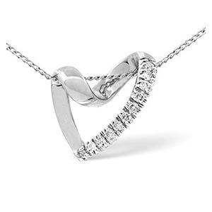Photo of Heart Pendant 0.10CT Diamond 9K White Gold Jewellery Woman