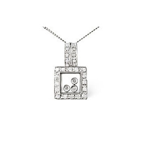 Photo of Floating Pendant 0.19CT Diamond 9K White Gold Jewellery Woman
