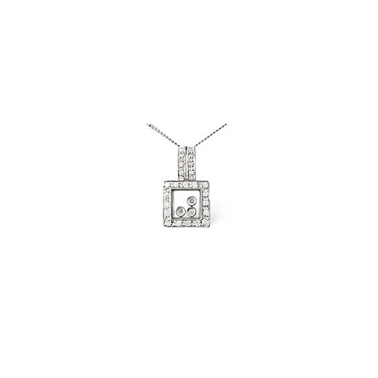Floating Pendant 0.19CT Diamond 9K White Gold