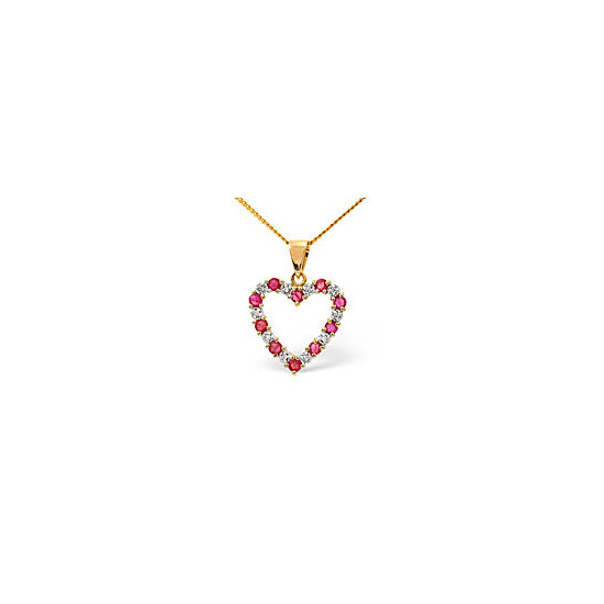 Ruby & 0.03CT Diamond Pendant 9K Yellow Gold