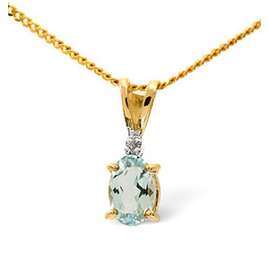 Photo of Aqua Marine & 0.01CT Diamond Pendant 9K Yellow Gold Jewellery Woman