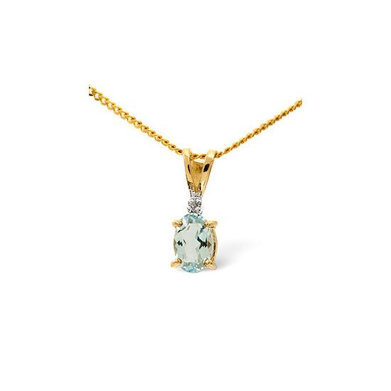 Aqua Marine & 0.01CT Diamond Pendant 9K Yellow Gold