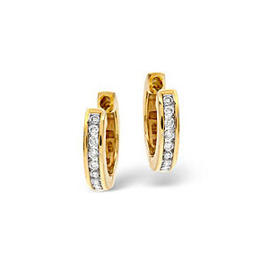 Photo of Hoop Earrings 0.20CT Diamond 9K Yellow Gold Jewellery Woman