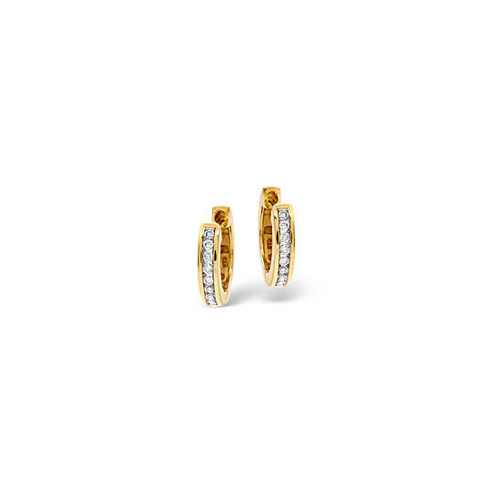 Hoop Earrings 0.20CT Diamond 9K Yellow Gold