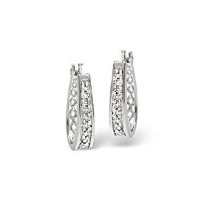 Photo of Hoop Earrings 0.25CT Diamond 9K White Gold Jewellery Woman