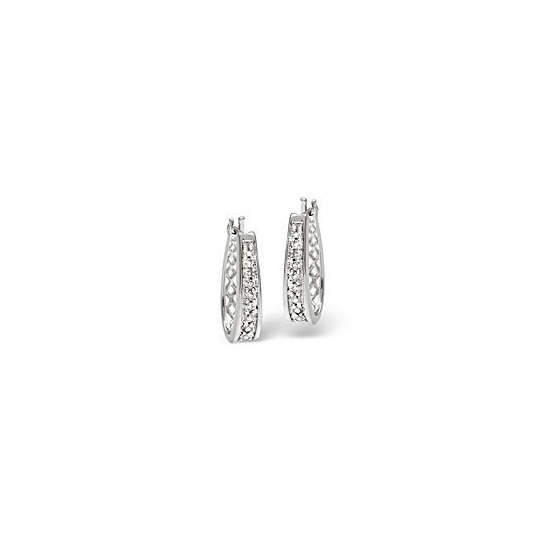 Hoop Earrings 0.25CT Diamond 9K White Gold