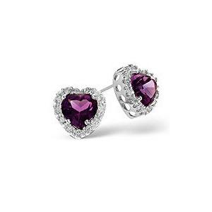 Photo of Amethyst & 0.18CT Diamond Earrings 9K White Gold Jewellery Woman