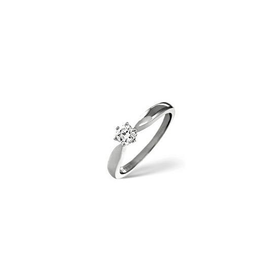 H/Si Solitaire Ring 0.33CT Diamond 18K White Gold