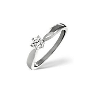 Photo of g/Vs Solitaire Ring 0.33CT Diamond 18K White Gold Jewellery Woman