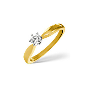 Photo of H/Si Solitaire Ring 0.25CT Diamond 18K Yellow Gold Jewellery Woman