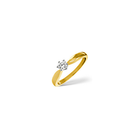 H/Si Solitaire Ring 0.25CT Diamond 18K Yellow Gold