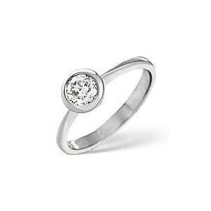 Photo of H/Si Solitaire Ring 0.50CT Diamond 18K White Gold Jewellery Woman